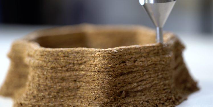 3D-printing mycelium material, 3D-Druck von Pilzmyzelwerkstoff